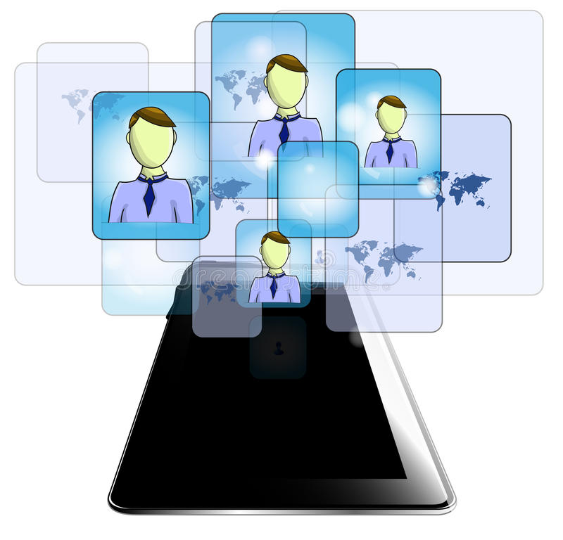 Tablet with business people isolated on white background royalty free illustration