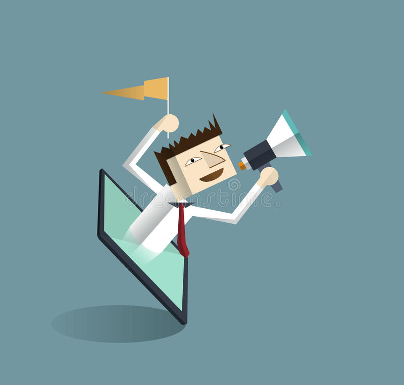 Tablet and businessman with megaphone stock illustration