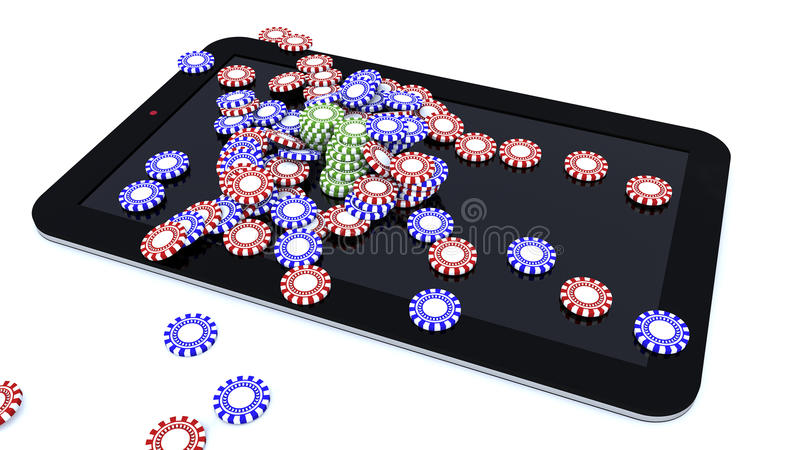 Tablet and casino game chips. 3d rendering. Tablet and casino game chips stock illustration