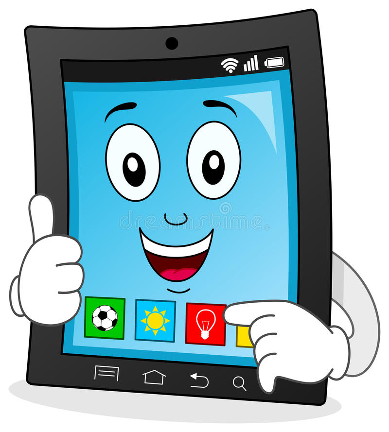 Cartoon Characters App : Tablet character showing a new app stock vector
