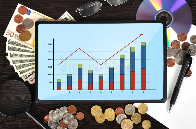 Download Tablet with chart stock image. Image of graph, diagram - 34361071