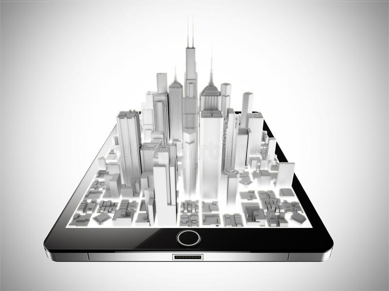 Tablet city royalty free stock images