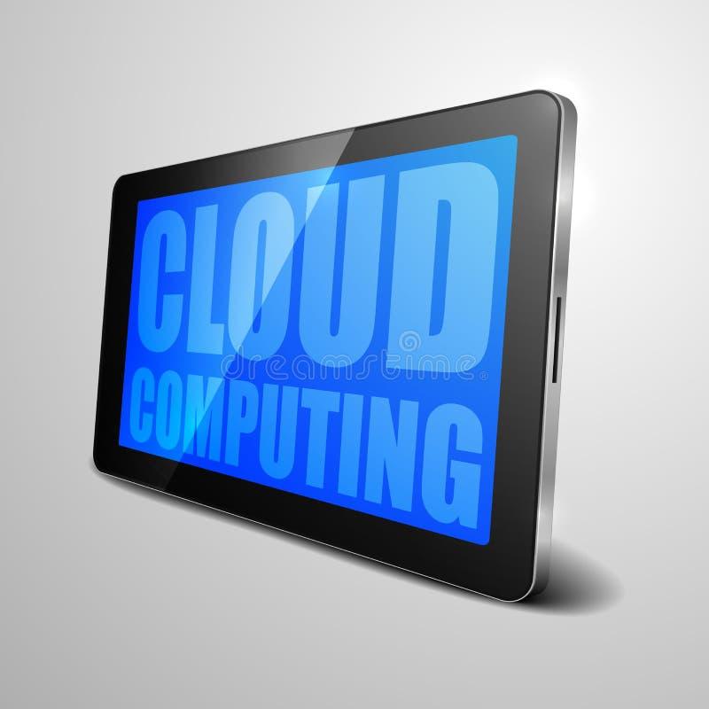 Tablet Cloud Computing. Detailed illustration of a tablet computer device with cloud computing text stock illustration