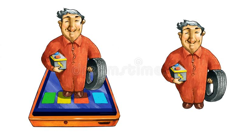 Mechanic on tablet outcut stock illustration
