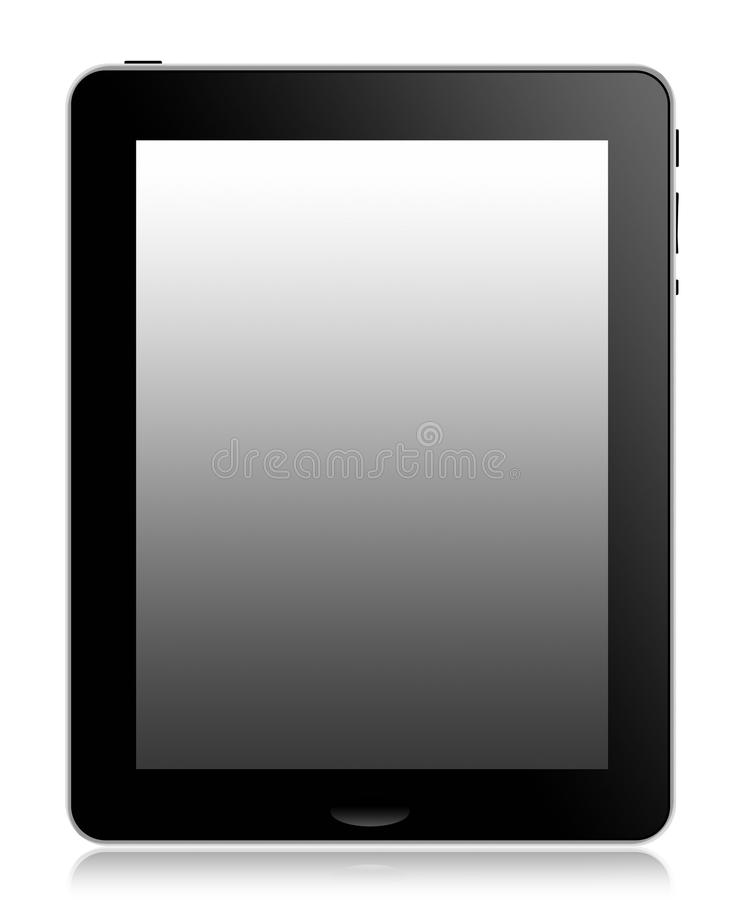 Tablet computer. A front view of a modern touch screen tablet computer designed for a mobile lifestyle royalty free illustration