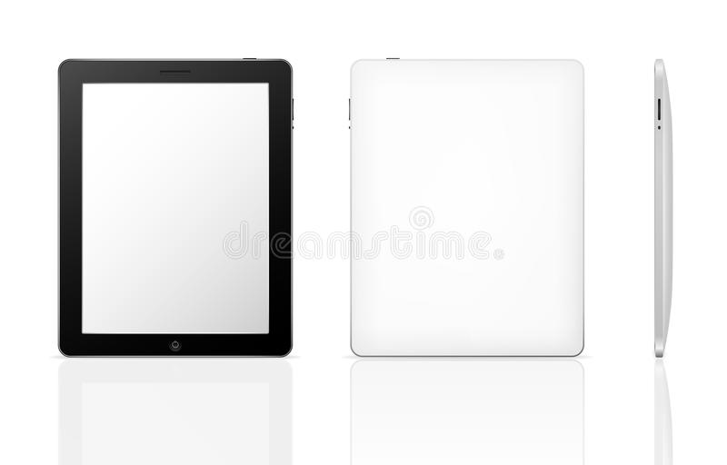 Tablet computer. With shadow and reflection (front, back and side stock illustration