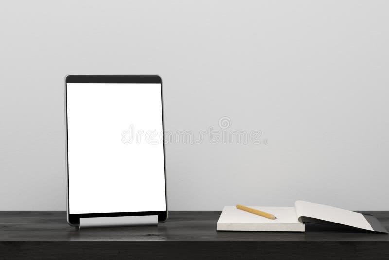 Tablet-Computer auf einem schwarzen Holztisch stock abbildung