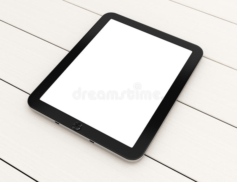 Tablet computer with blank screen on white wooden table stock illustration