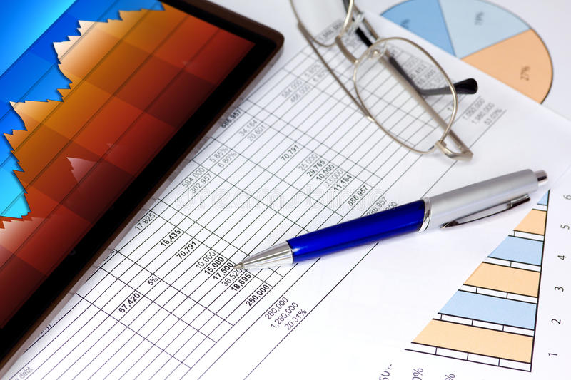 Download Tablet Computer With Blue Pen Figures And Graphs Stock Photo - Image of profit, piechart: 26380310