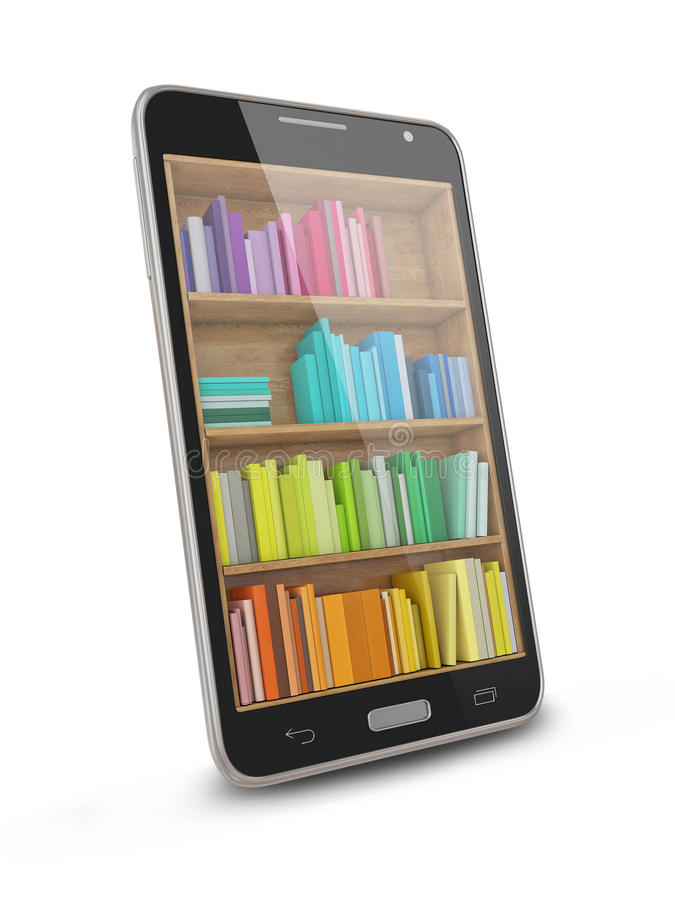 Tablet Computer Bookcase with Multicolor e-books on White Background stock illustration