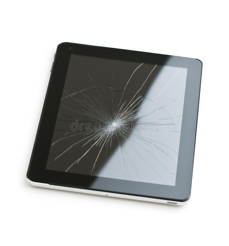 Tablet computer with broken screen. Tablet computer with broken screen isolated on white background royalty free stock photos
