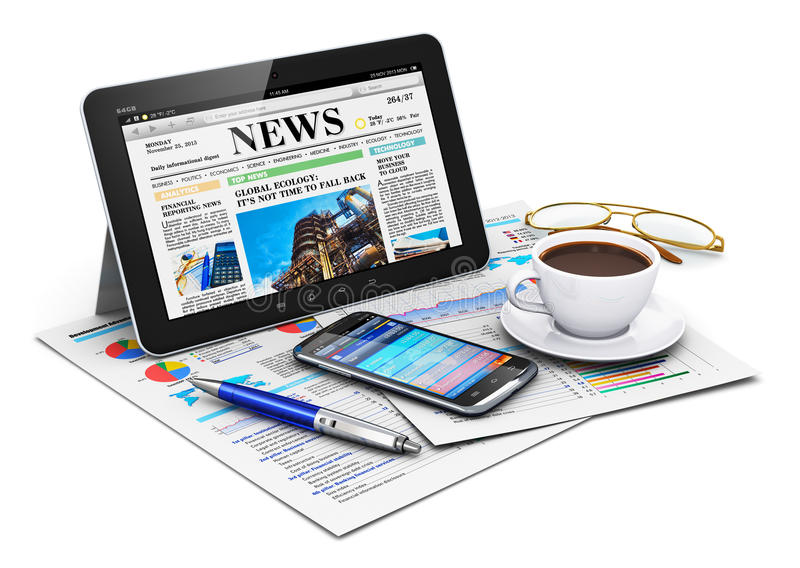 Download Tablet Computer And Business Objects Stock Illustration - Illustration of background, newspaper: 34312909