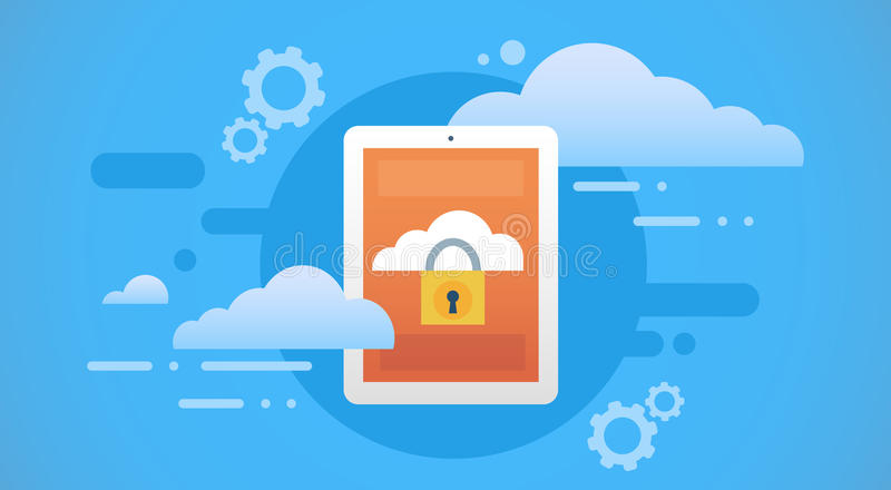 Tablet Computer Cloud Database Lock Screen Data Privacy Protection. Laptop Computer Cloud Database Lock Screen Data Privacy Protection Flat Vector Illustration royalty free illustration