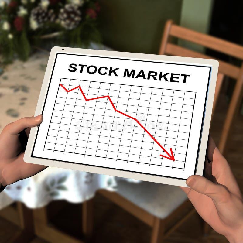 Tablet-Computer, der Aktienkurve anzeigt stockfoto