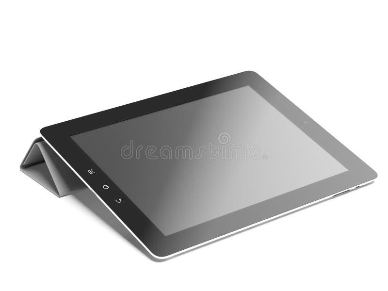 Tablet-Computer in der grauen Abdeckung lizenzfreie abbildung