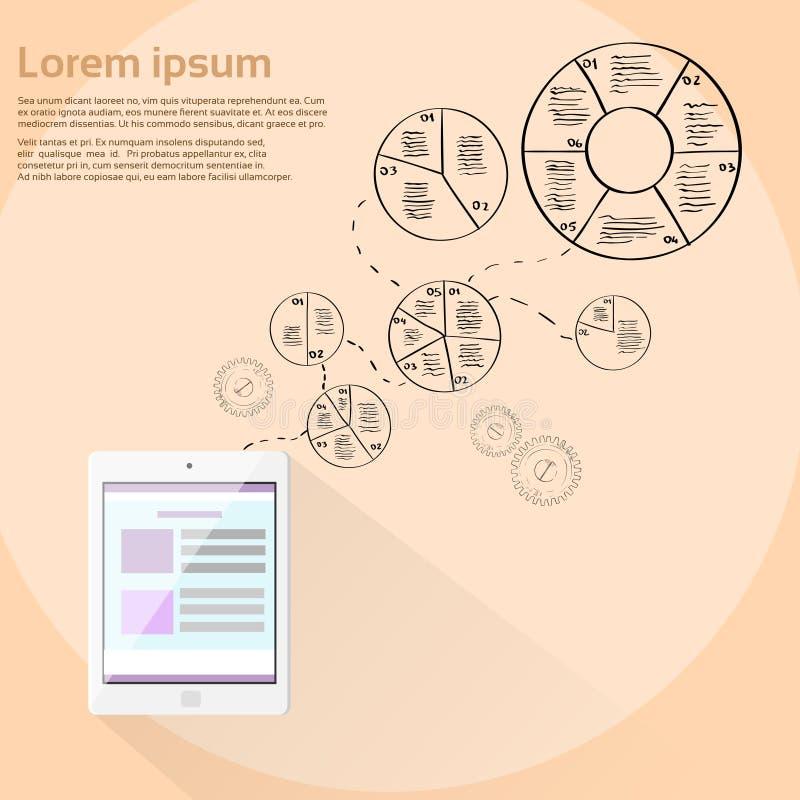 Tablet-Computer-Finanzkreisdiagramm Infographic lizenzfreie abbildung