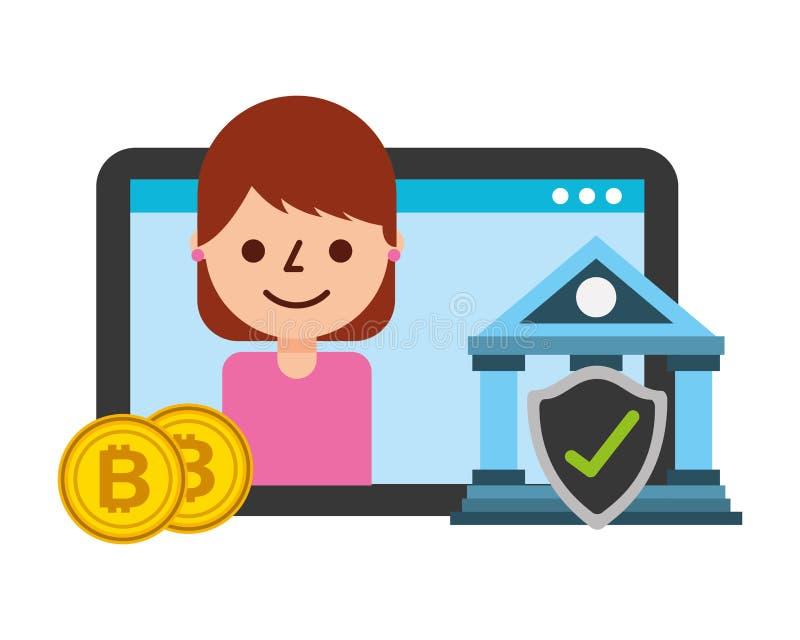 Tablet-Computer-Frauenbankh?kchen bitcoins fintech lizenzfreie abbildung