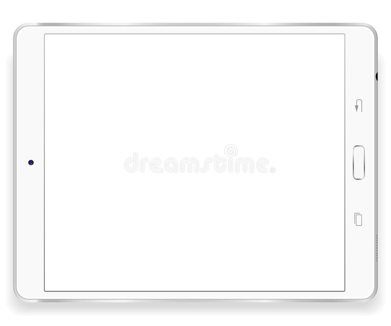 Tablet computer front view isolated in a white background and white button. To present your application. royalty free illustration