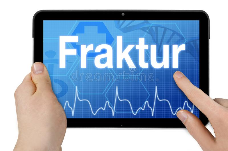 Tablet computer with the german word for fracture - Fraktur stock images
