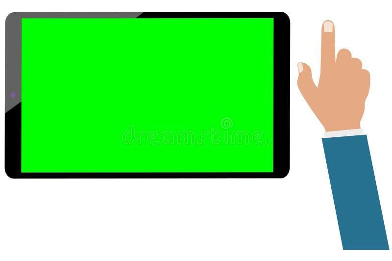 Tablet-Computer-Grünschirm und Geschäftsmannhand lokalisiert Stellen Sie bereit zu wird belebt ein stock abbildung