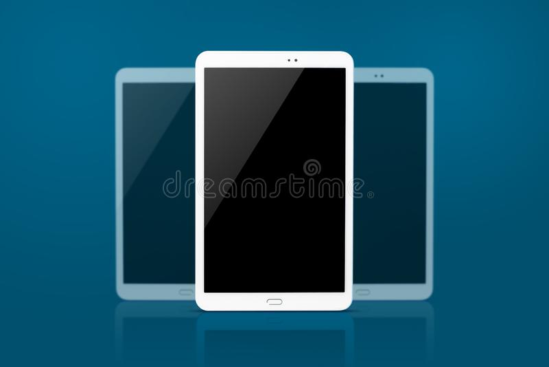 Tablet-Computer lokalisiert auf blauem Hintergrund lizenzfreies stockfoto