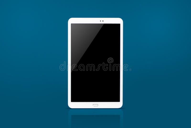 Tablet-Computer lokalisiert auf blauem Hintergrund lizenzfreie stockfotos