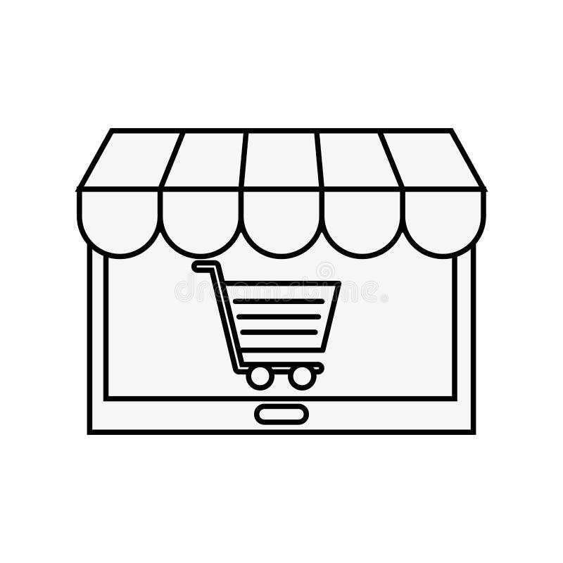 Tablet computer market online shopping cart. Vector illustration outline royalty free illustration