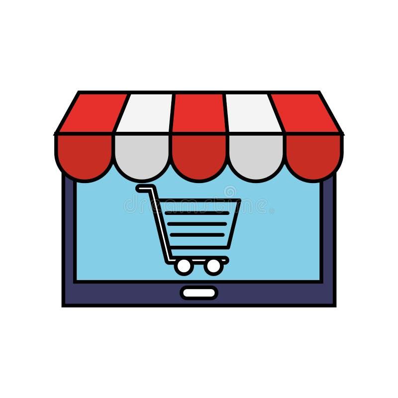 Tablet-Computer-Markt-on-line-Einkaufswagen stock abbildung
