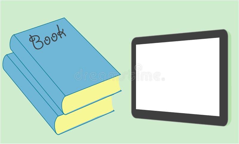 Tablet-Computer mit Büchern lizenzfreie abbildung