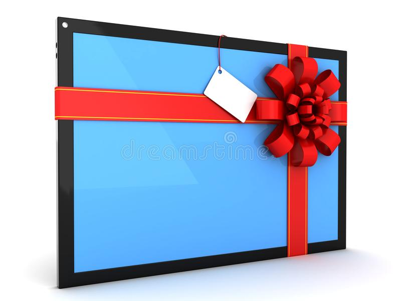 Tablet-Computer mit einem roten Band für Geschenk stock abbildung