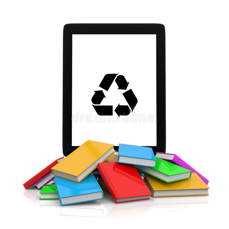 Tablet-Computer mit Recycling-Symbol auf einen Stapel von Büchern vektor abbildung