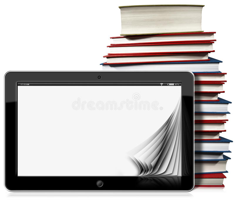 Tablet-Computer mit Seiten und Büchern vektor abbildung