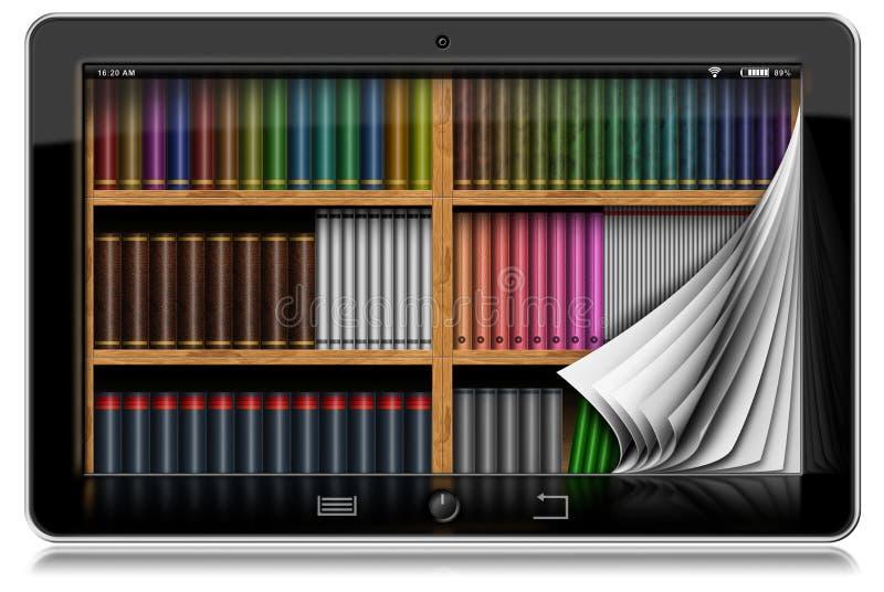 Tablet-Computer mit Seiten und Bibliothek stock abbildung