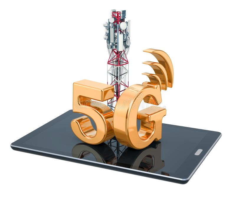 Tablet computer with mobile tower, 5G concept. 3D rendering. Isolated on white background stock illustration