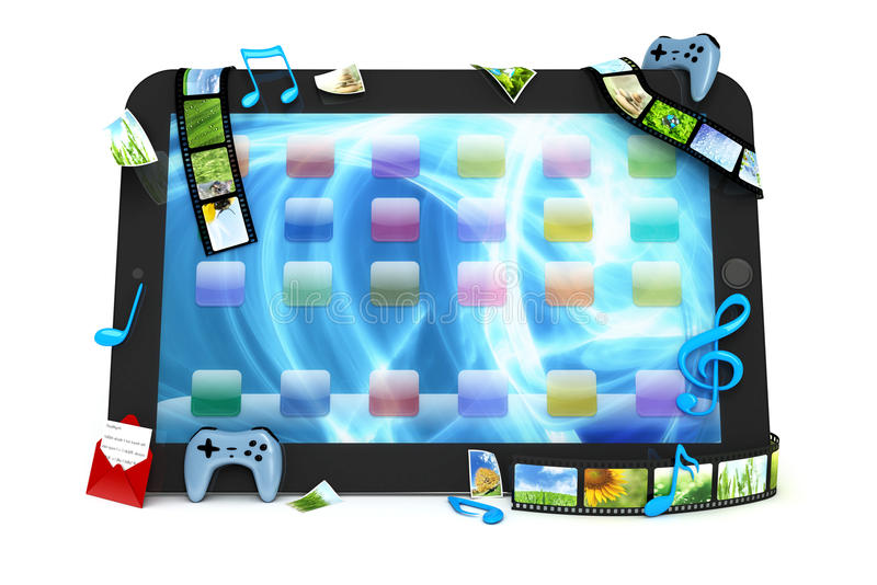 Download Tablet Computer With Movies, Music, And Games Stock Illustration - Image: 24250320