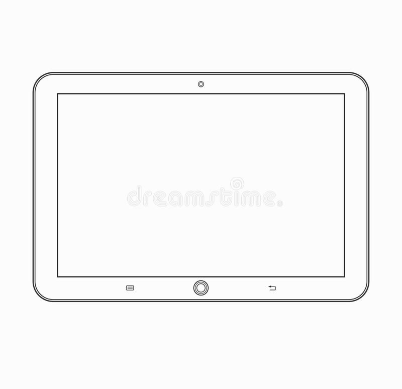 Tablet Computer Outline Icon. Vector Mobile Device Template Stock ...