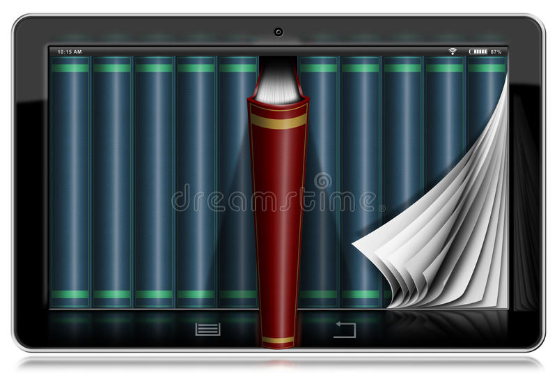Tablet Computer with Pages and Books. Horizontal black tablet computer with curled pages and books in the screen. Isolated on white background royalty free illustration