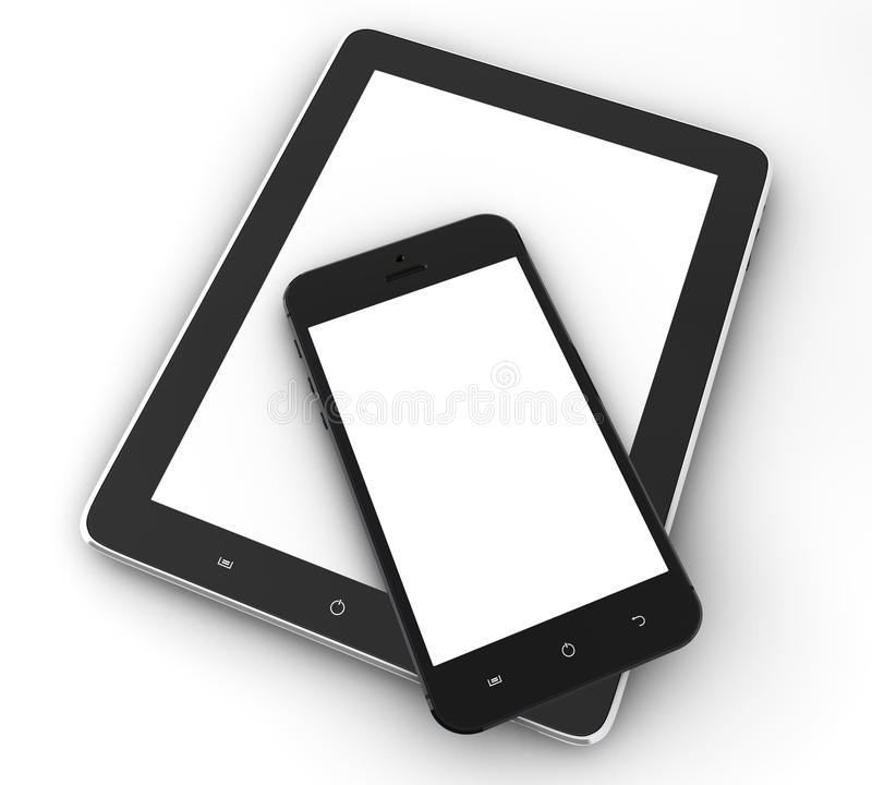 Tablet computer and phone vector illustration