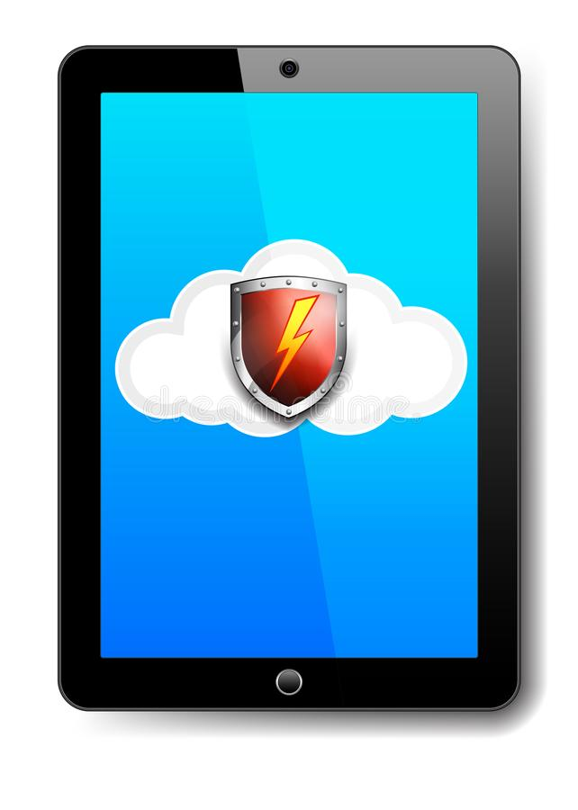 Tablet Computer Protection Red Shield on Cloud stock illustration