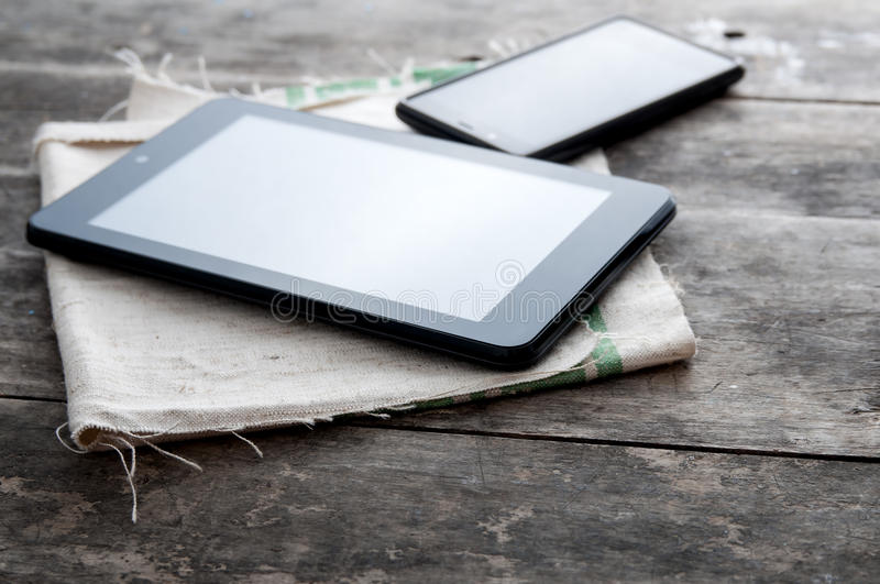 Tablet computer and smart phone stock image