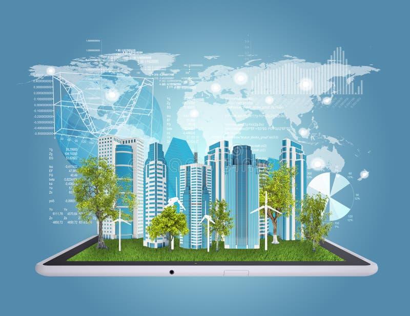 Tablet-Computer und Stadt von Wolkenkratzern lizenzfreie abbildung