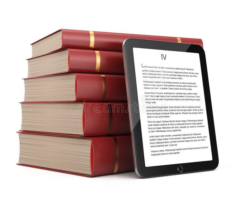 Tablet-Computer und Stapel Bücher stock abbildung
