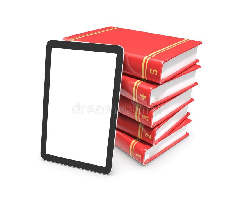 Tablet-Computer und Stapel Bücher lokalisiert auf weißem Hintergrund lizenzfreie abbildung