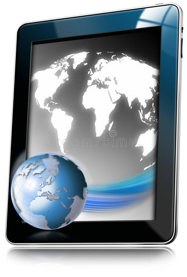 Free Tablet Computer With World Map Stock Image - 23034781