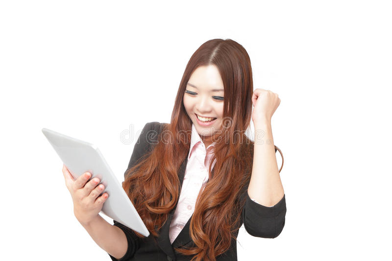 Tablet computer woman looking excited stock photo