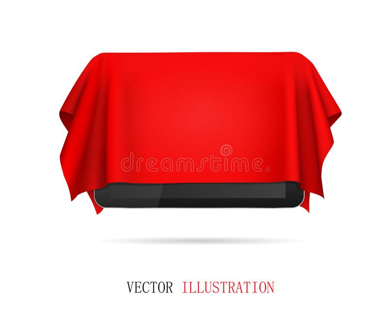 Tablet covered red cloth, presentation of new tablet, gift. stock photos