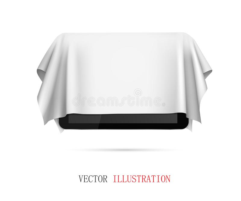 Tablet covered with white cloth, presentation of new tablet, gift stock photos