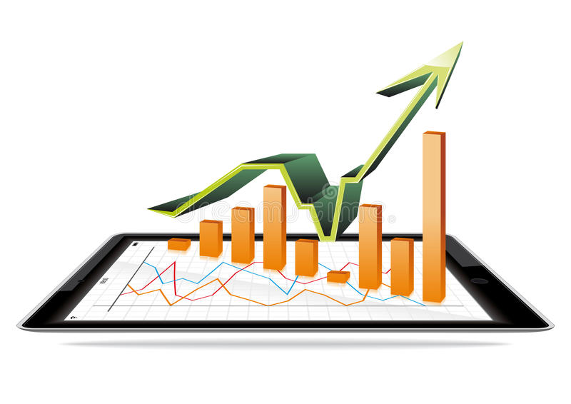 Tablet and bar graph. Tablet and 3d bar graph royalty free illustration
