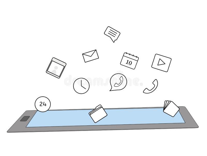Tablet 3D Digital mit Fliegen apps Ikonen Auch im corel abgehobenen Betrag lizenzfreie abbildung