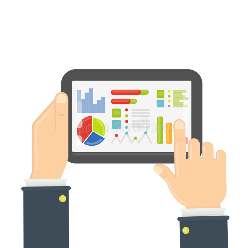 Tablet with data chart. stock illustration
